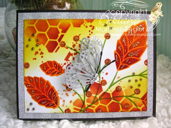 fall stencil butterfly card front
