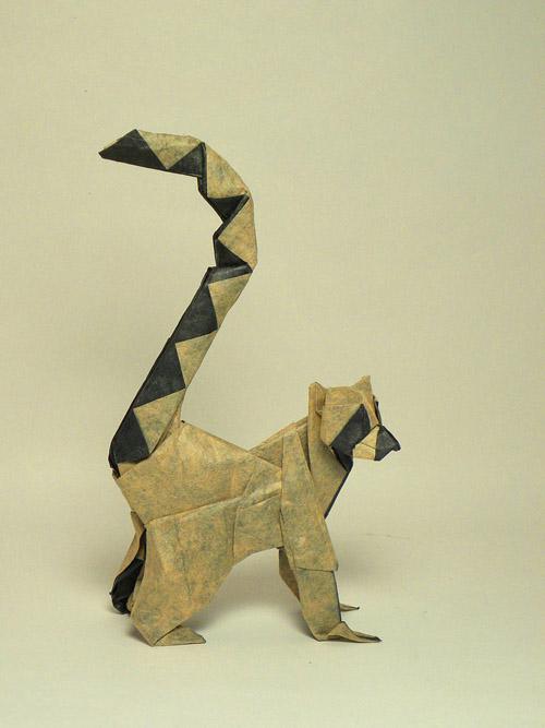 lemur origami papel