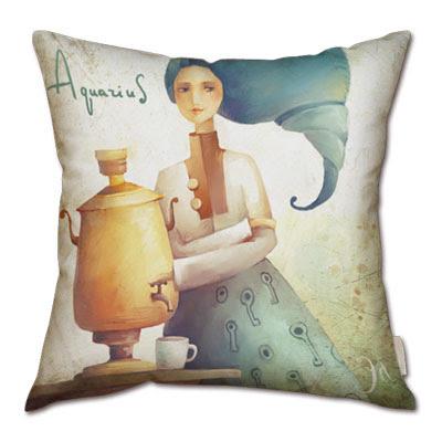 signo zodiacal acuario en almohada