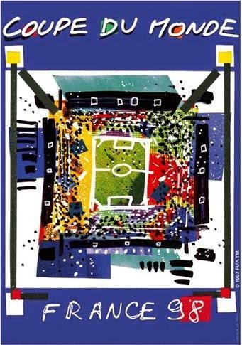 Cartaz e mascote oficial da Copa do Mundo realizada na França em 1998.