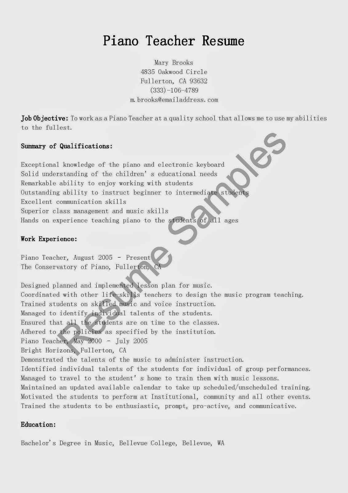 resume samples  piano teacher resume sample