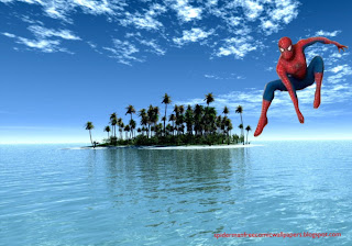 Spiderman Desktop Wallpapers Spiderman Flying in Paradise Island Wallpaper