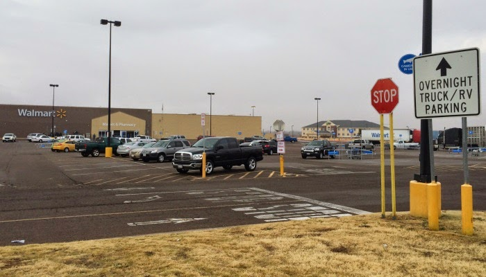 Hos Walmart her i det nordlige Texas er det tilladt at parkere natter over