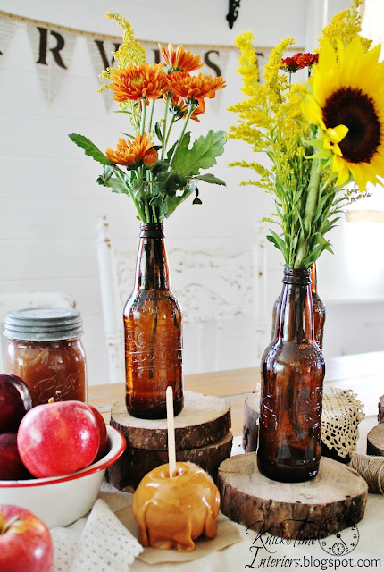 Recycle amber beer or root beer bottles as flower vases for party decor | www.knickoftime.net
