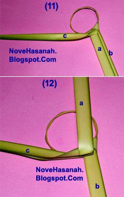 cara membuat kerajinan tangan atau prakarya dari janur daun kelapa muda berupa burung cenderawasih 9