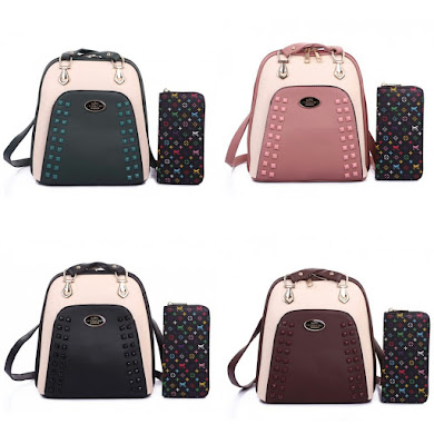 BACKPACK BAG GRED AAA - BLACK , COFFEE , DUSTY PINK , GREEN