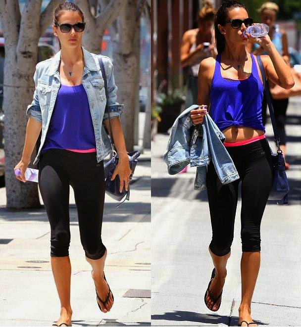 ‭Alesandra Ambrosio glides out of the gym on Monday, May 26, 2014 looking almost ethereal.
