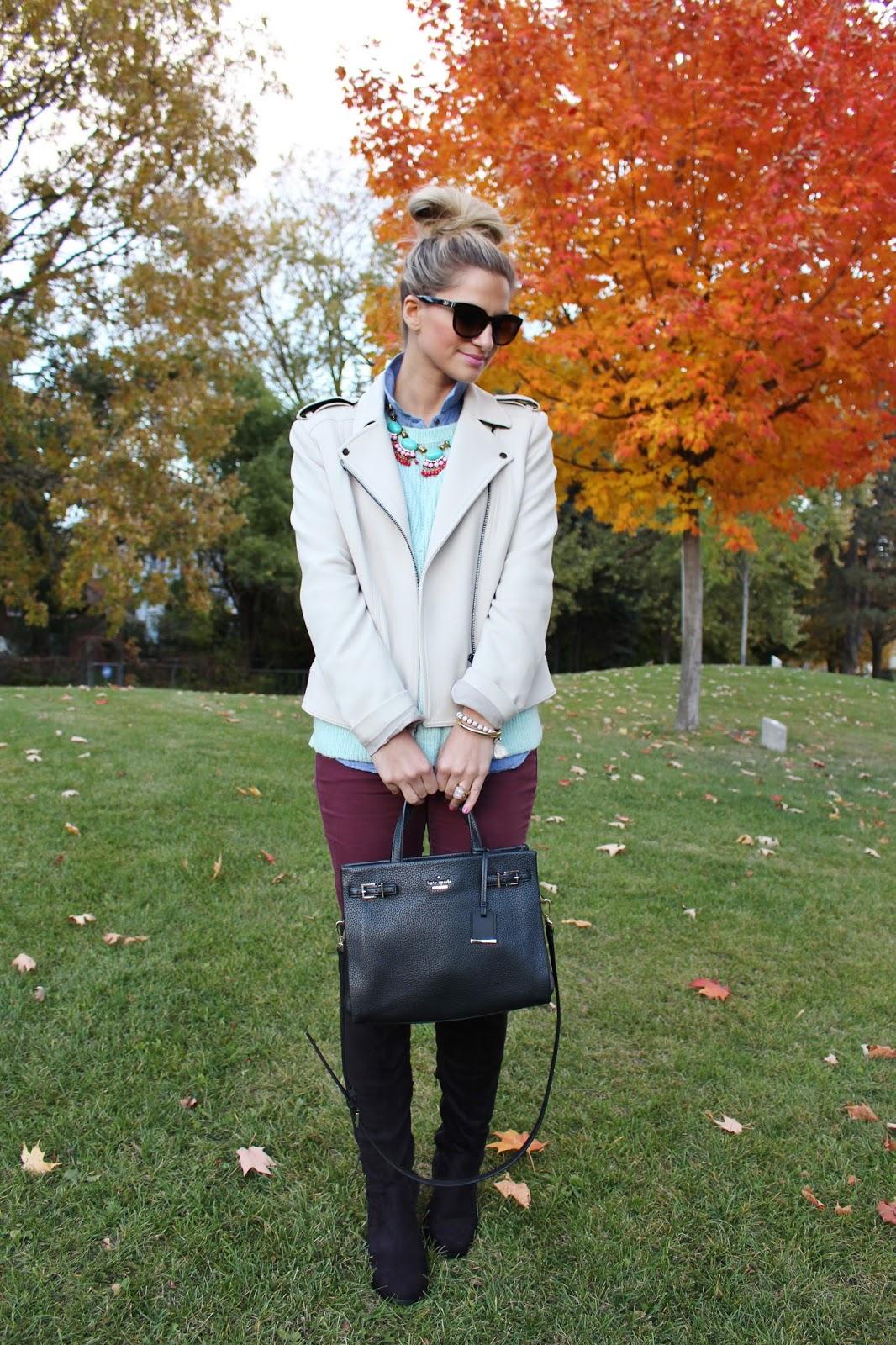 bijuleni-mint sweater, burgundy jeans,knee high boots