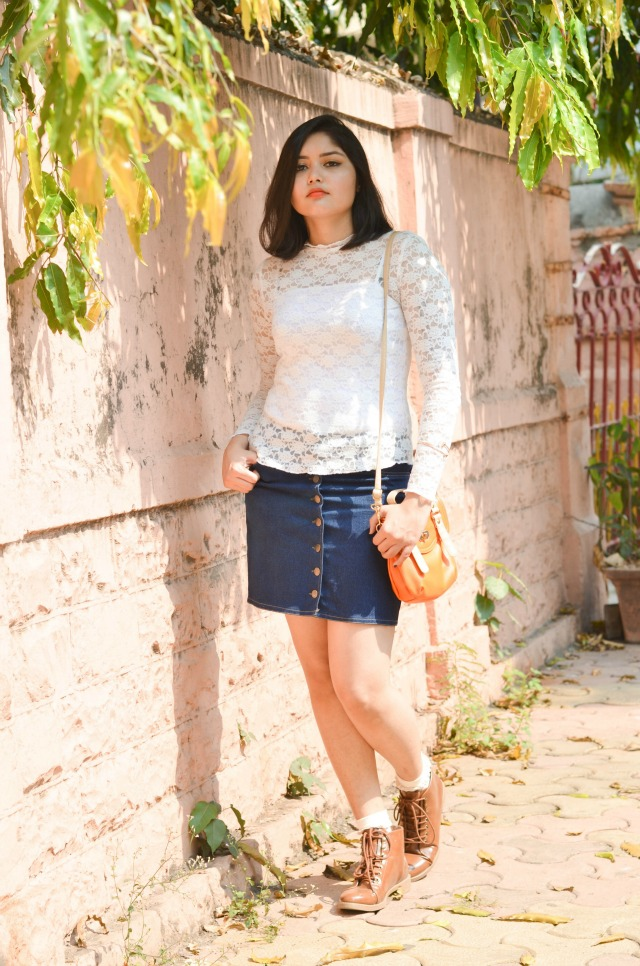 seventies lace and denim outfit