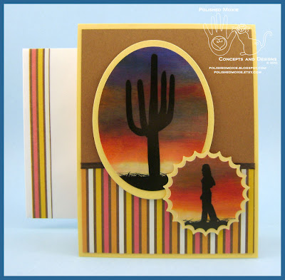 My handmade Southwestern Sunset Card and coordinating handmade envelope.