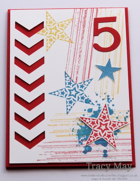 Stampin up Simply Stars and Gorgeous Grunge chevron punch Tracy May card making ideas