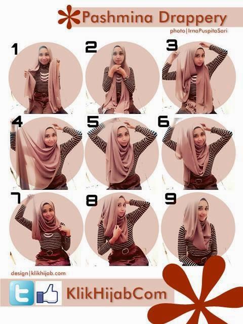 tutorial hijab pashmina kerja