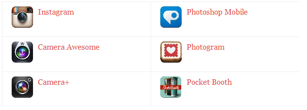 Instagram, Camera Awesome, Camera+, Photoshop Mobile, Photogram, Pocket Booth