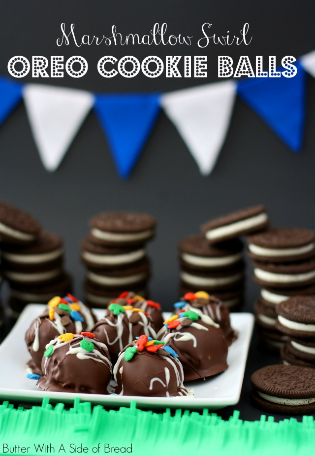 MARSHMALLOW SWIRL OREO COOKIE BALLS   #OREOCookieBalls #CollectiveBias Butter With A Side of Bread