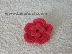 Free Crochet Double Flower Pattern : Free Crochet Flower pattern (Small Double Layer 3d Flower ...