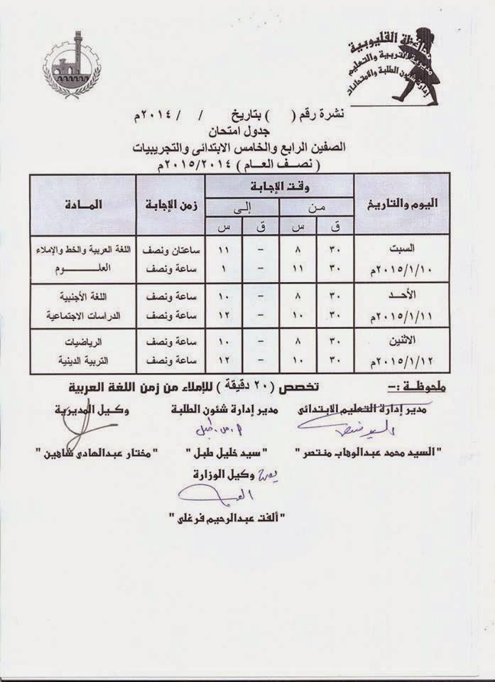 جداول امتحانات فرق ابتدائى الترم الأول 2015 لمحافظة القليوبية 10636223_65550175123