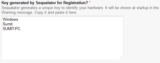 Paste the copied text into the registration form