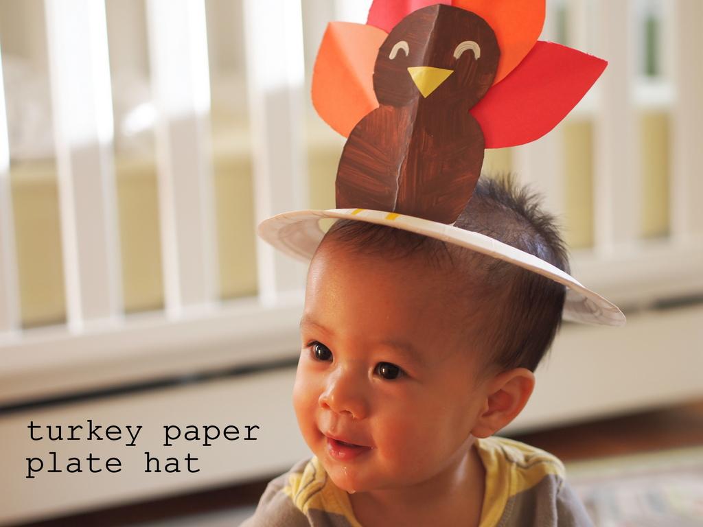 Turkey paper plate hat pink stripey socks for Craft hats for kids