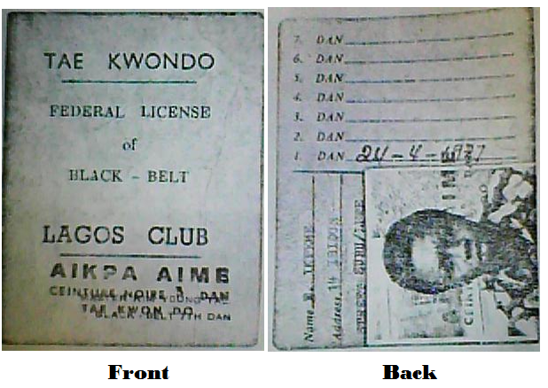ORIGINAL BLACK BELT I.D. CARD