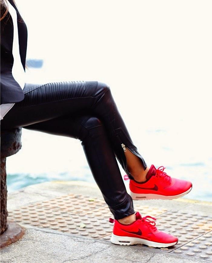 nike airmax sneaker,red holiday kicks,new kicks,blank denim leather pants, Asos hat, karean walker sunglasses, white tee, basics, shibuya109 blazer, chanel brooch, chanel bag, hermes bracelet, fashion blog, shallwesasa, travel, hongkong, ifc, new yorker, holiday outfit, holiday shopping, red sneaker