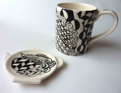 Zentangled mug and teaspoon stand