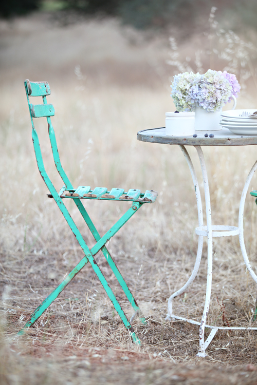 Vintage French Green Bistro Chairs.
