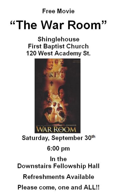 "9-30 ""The War Room"" Free Movie"