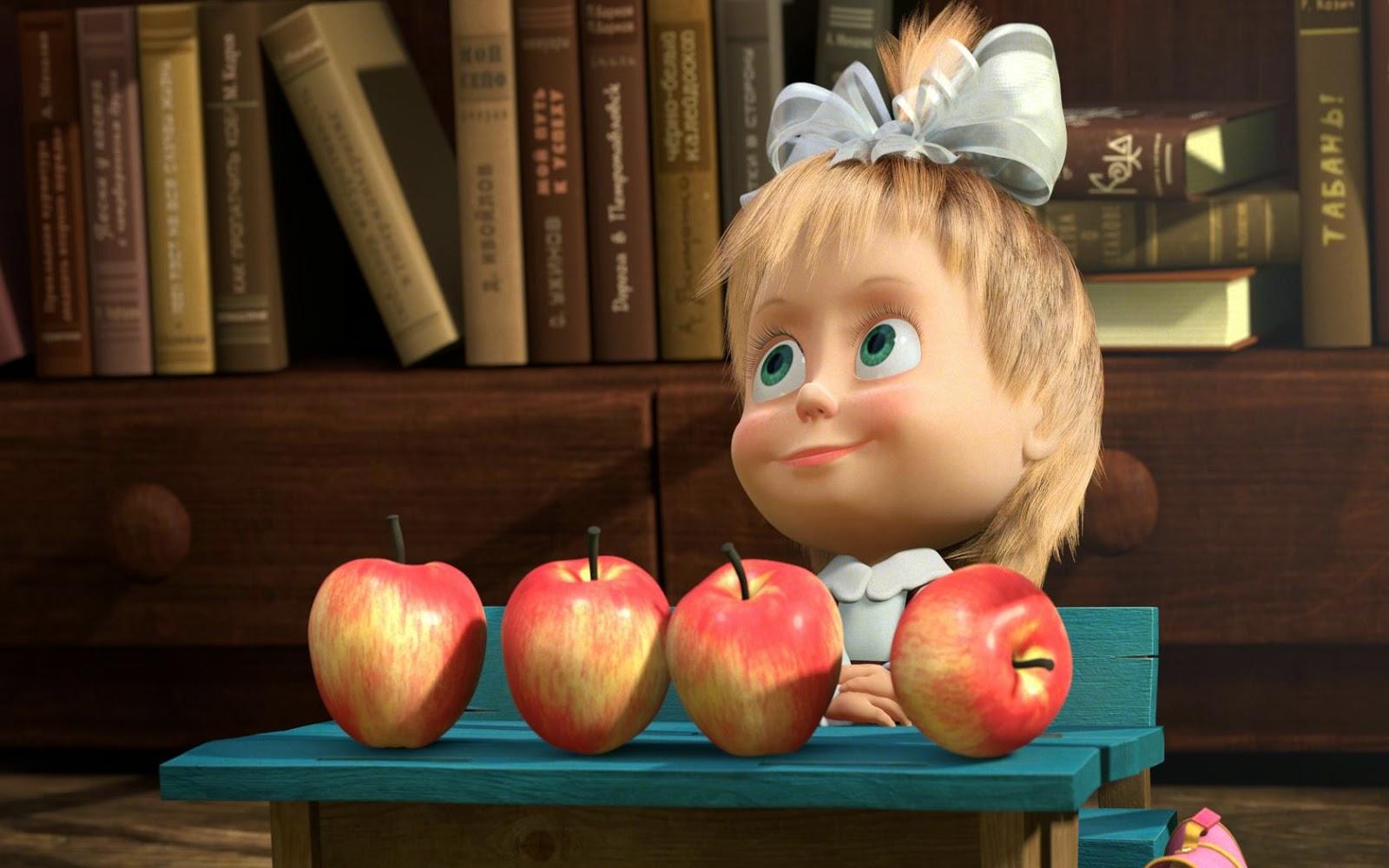 Картинки Маша и Медведь. Маша и яблоки