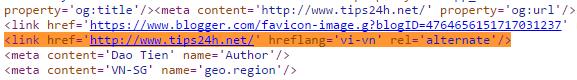Hướng dẫn cách thêm thẻ hreflang cho blogspot
