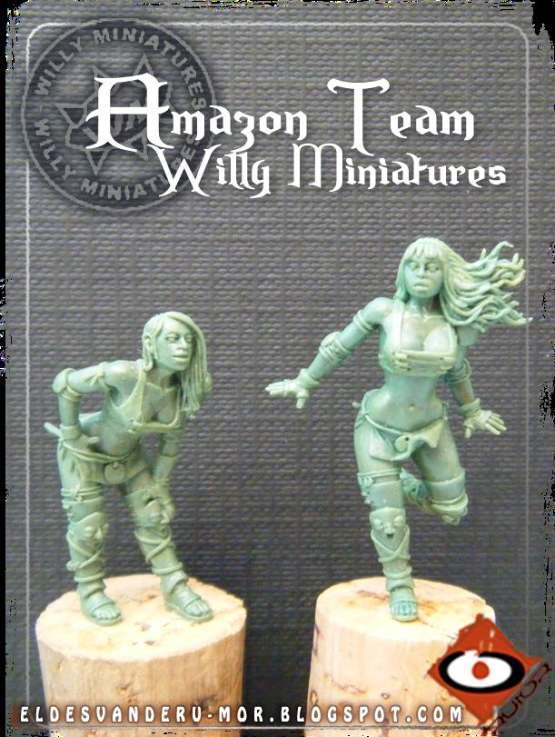 Foto de varias miniaturas del Equipo Blood Bowl de Amazonas de WILLY Miniatures hechas por ªRU-MOR. Linewomen, fantasy football