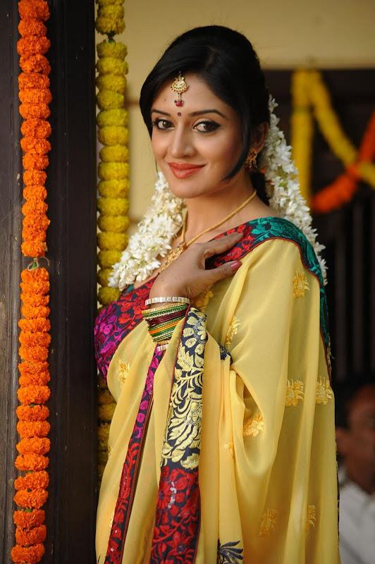 Vimala Raman Cute Saree Photos In Kulumanali Movie Stills navel show