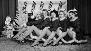 Christmas Pinup Girls Black and White Classic Picture