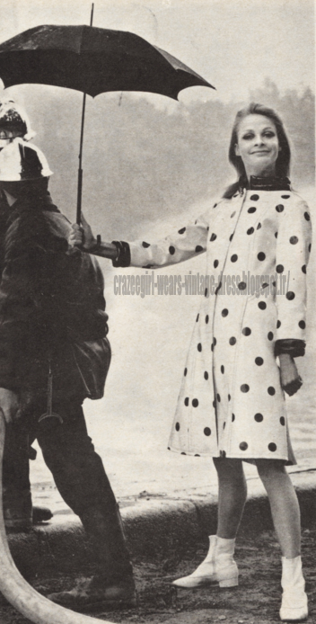 Raincoat - 1966 polka dot dotted vinyl pvc rain coat 60s 1960 umbrella
