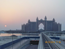Atlantis Hotel in Dubai -- It sits at the top of a palm shaped island group called Palm Jumeirah.