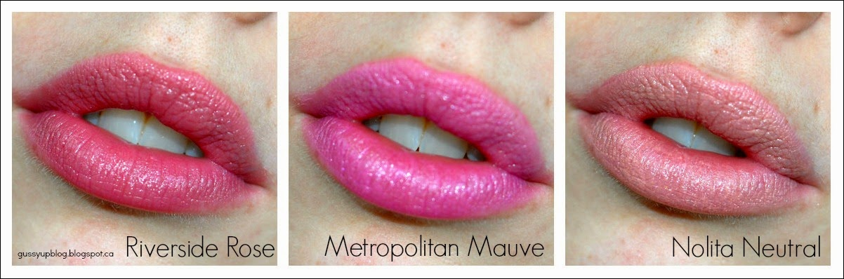 NYC City Proof Twistable Intense Lip Color, Riverside Rose, Metropolitan Mauve and Nolita Neutral, Review and Swatches