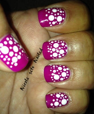 Neon Purple White Polka Dots Nail Art