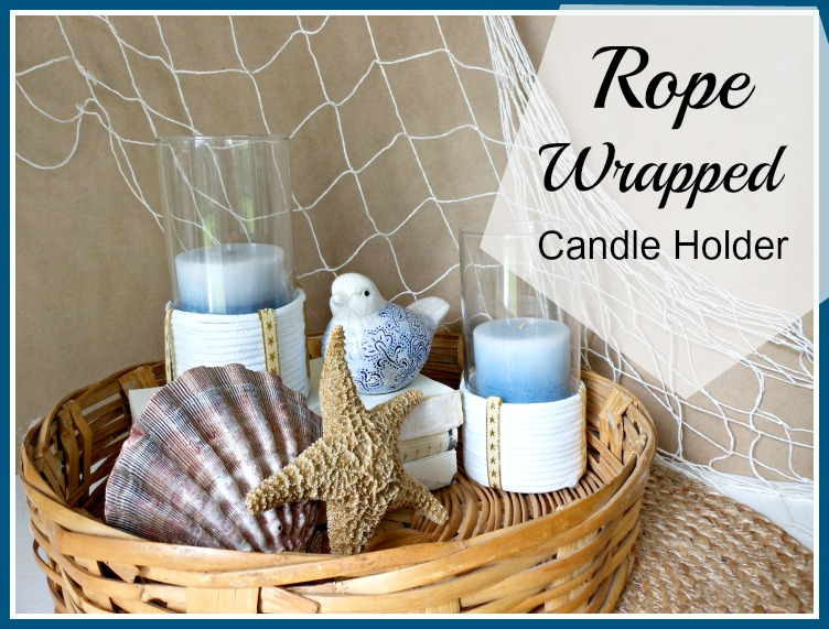 Vintage, Paint and more... beach decor for living room featuring rope wrapped candle holders