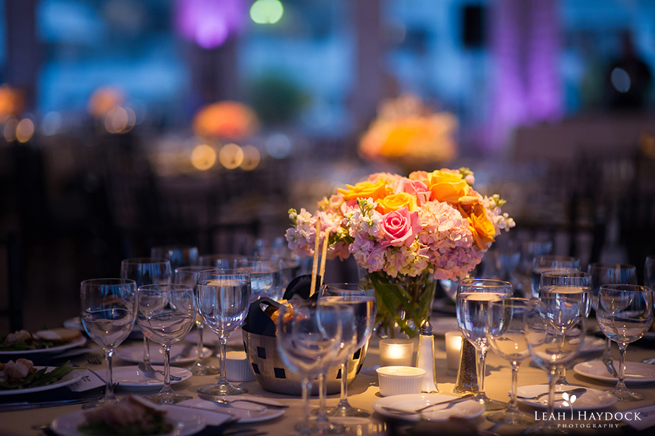 pinlights on floral centerpiece at New England Aquarium wedding