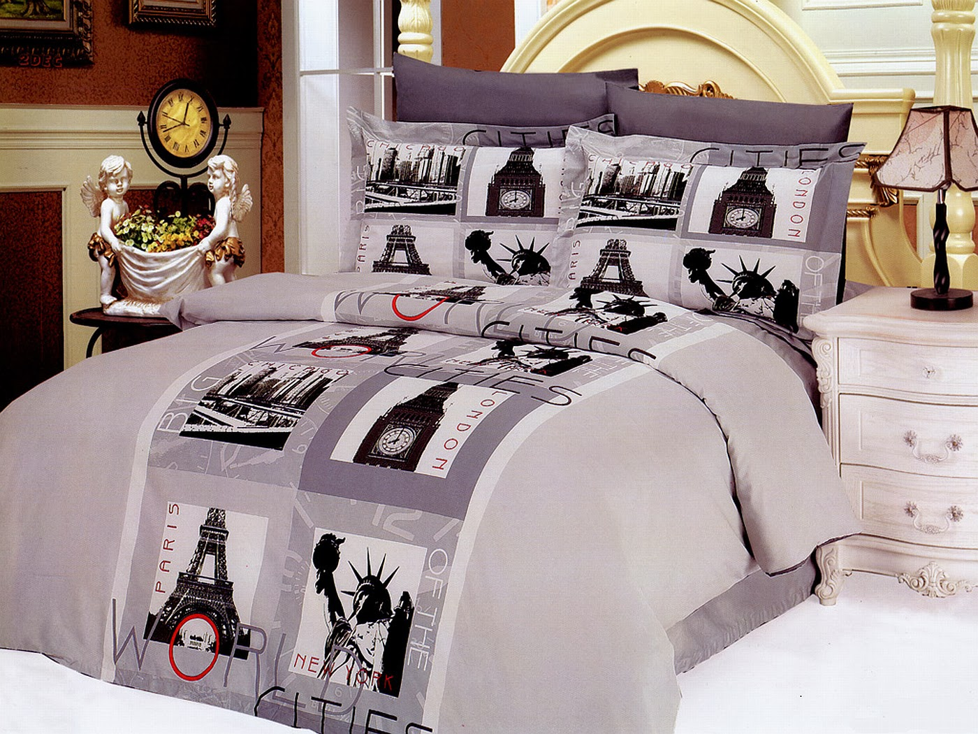 full queen modern city theme bedding duvet cover set le vele le90q