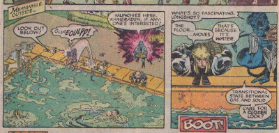 I don't know what Longshot's leather outfit is going to do in the pool...