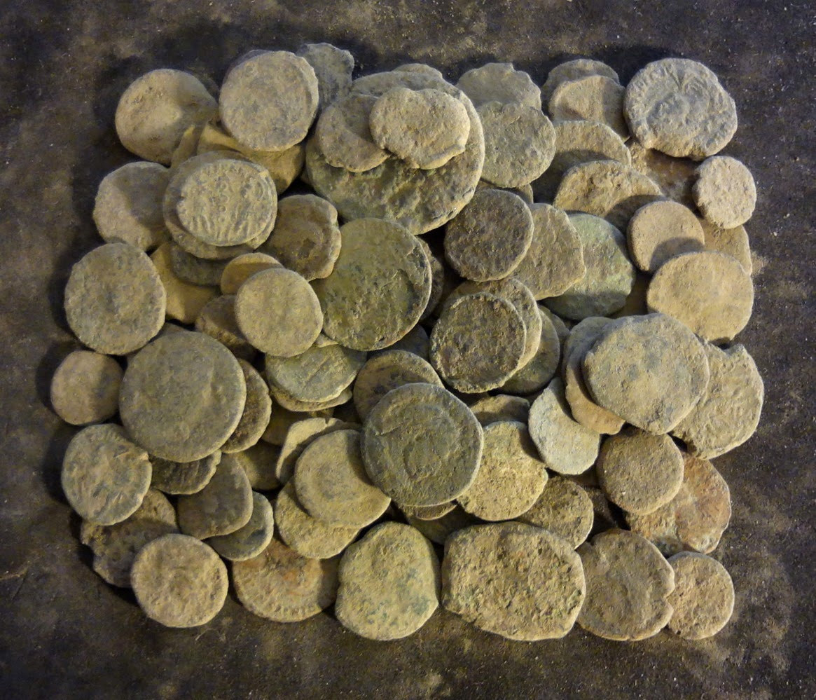 uncleaned ancient roman bronze coins