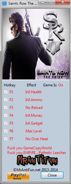 Saints Row The Third Steam Trainer +7 MrAntiFun