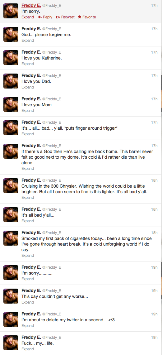 Freddy E's last tweets before he committed suicide