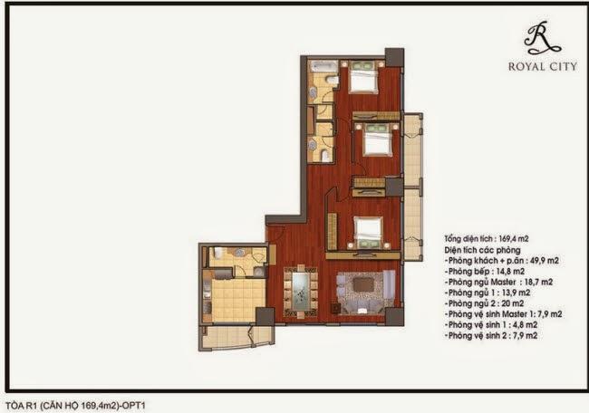 Mặt bằng căn hộ Royal City R1-169,4m2