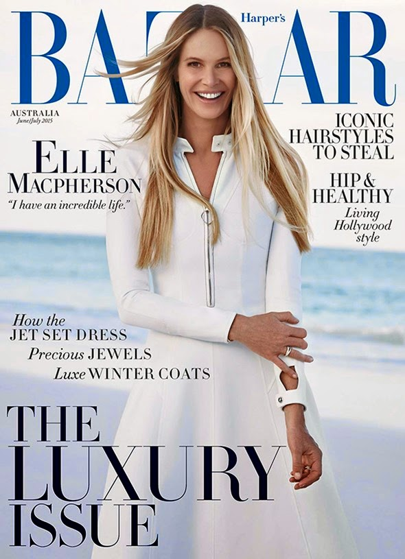 Actress. Television Host, Model @ Elle Macpherson - Harper's Bazaar Australia June/July 2015
