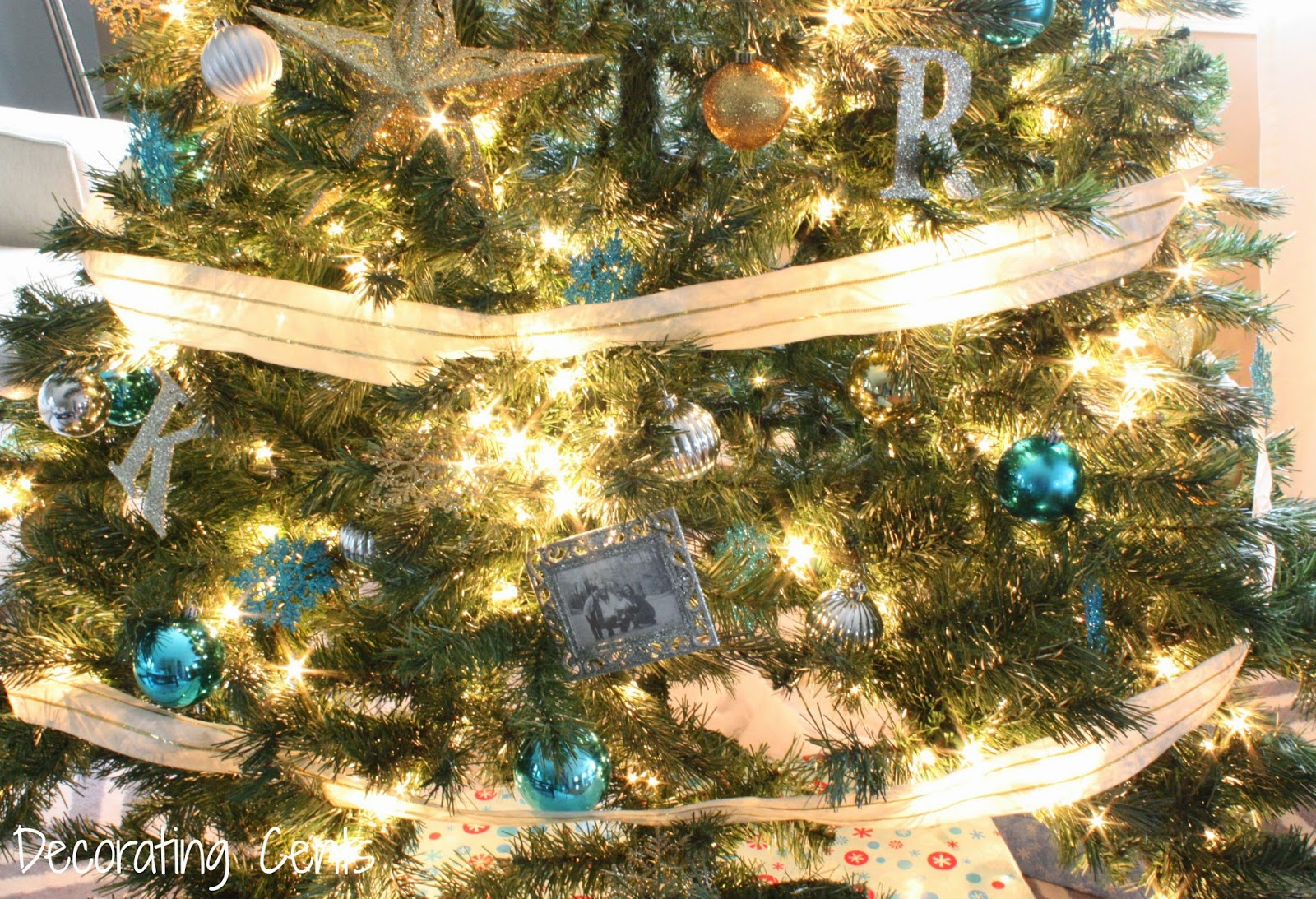 Decorating Cents Gold Silver And Blue Christmas Tree
