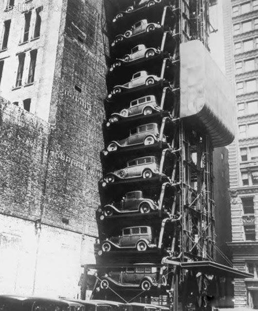 Лифт-стоянка для в автомобилей в Чикаго,1936г.