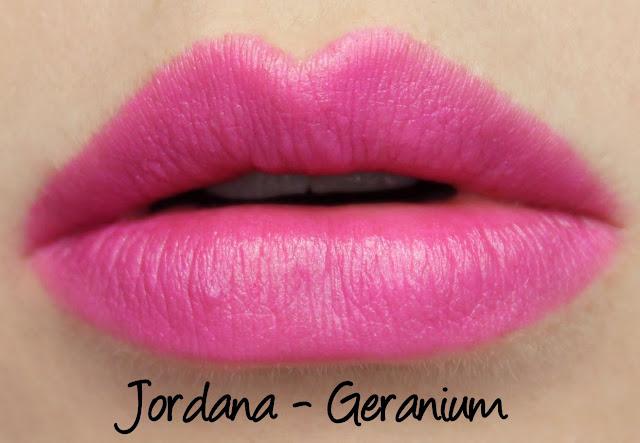 Jordana Geranium lipstick swatches & review