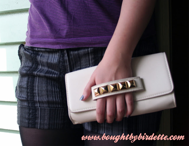 Collette Clutch Stud Handle White Cream