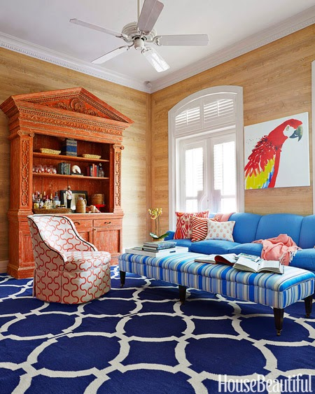 Ballard Designs banquette, Ikea Docksta table, and Circa Who  ~ Nobilis Faux Bois Wallpaper